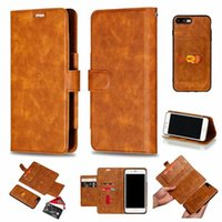 Wholesale leather buckle id card for sale - Group buy Retro Leather Wallet For Iphone XR XS MAX X Case Vintage Magnetic Removable Detachable in Buckle Phone Flip Cover ID Card Slot