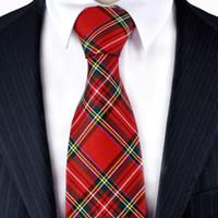 gravata vermelha do terno dos homens venda por atacado-Verificado xadrez xadrez escocês vermelho vermelho carmesim cinza cinza verde amarelo azul mens laços gravatas frete grátis terno presente para homens