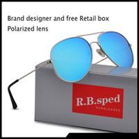 kutu çerçeveleri gözlük toptan satış-Yeni Moda Erkekler Kadınlar için Pilot Polarize Güneş Gözlüğü metal çerçeve Ayna polaroid Lensler sürücü Güneş Gözlükleri ile kahverengi kılıflar ve kutu