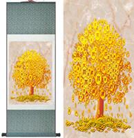 para ağaç sanatı toptan satış-Para Ağacı Boyama Çince Geleneksel Sanat Boyama En Kaliteli Para Ağacı Pictureprinted Boyama