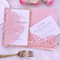 gold rosa hochzeitseinladungen großhandel-Luxus Laser Cut Gold Glitter Hochzeitseinladungen mit RSVP-Karte DIY Pink druckbare Tasche Party Dinner lädt mit Umschlag