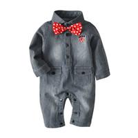 bebek kovboy toptan satış-Yenidoğan Erkek Tulum Çizgili Tek Göğüslü Cep Kravat Tulum Bebek Kovboy Giyim Bebek Giysi Tasarımcısı 1-36 M 08
