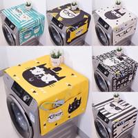máquina de lavar roupa venda por atacado-Capa de geladeira tampa de máquina de lavar roupa de cilindro de pano de algodão grosso e linho dos desenhos animados tampa de poeira de pano pode ser personalizado Q190525