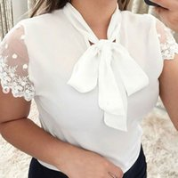 arcos para mulheres de verão para mulheres venda por atacado-Tops e blusas das mulheres Verão Trabalho Escritório Lace Top Bow Tie Manga Curta Camisa Chiffon Blusa blusas mujer de moda 2019