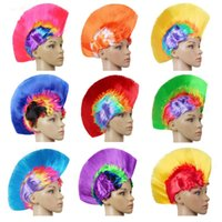 Wholesale wigs dresses resale online - Punk Cockscomb Wig Funny Fan Masquerade Hairpiece Synthetic Wigs Colour Fluffy Party Supplies Dress Up Fun xc O1
