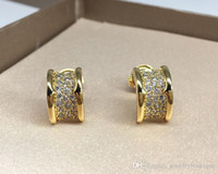 Wholesale back earring screw for sale - Group buy Sale on now L Titanium steel Half Round Concave Stud Earrings with diamonds women earring jewlery PS5603