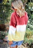 ingrosso camicia di colore gradiente-Felpe con cappuccio donna arcobaleno sfumato colore manica lunga girocollo pullover magliette allentate felpa cravatta tintura camicetta plus size maglione autunno B82201