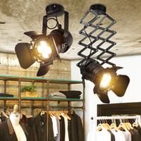 iluminación de la pista industrial de la vendimia al por mayor-Lámpara de techo LED lámpara de riel American Retro Country Loft Style lámparas Luz de pared de hierro Vintage Industrial para Bar Cafe Home Lighting