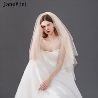 Wholesale veil black resale online - JaneVini New Fashion Short Wedding Veils Two Layers One Layer Tulle Simple Champagne Bridal Veil with Comb Wedding Party Accessories