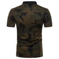 ingrosso più la maglietta verde della maglietta-Camouflage Designer Uomo Polo Shirt manica corta Summer Green New Men Slim Fit Polo Plus Size S-2XL