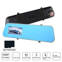 grabación del espejo retrovisor de la cámara al por mayor-Cámara Full HD 1080P para coche DVR 4.3 pulgadas de doble lente espejo retrovisor de video Grabador de conducción Visión nocturna Loop Recording Dash Cam