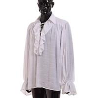 ingrosso uomini in camicia nera increspata-Camicia vintage poeta medievale uomini rinascimentali bianco nero scozzese vampiro colonial ruffles jabot camicetta manica lunga camicie pirata J190417