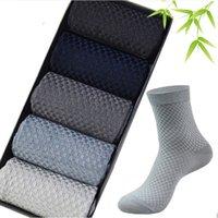 ingrosso calzini da uomo di marca-Calze in fibra di bambù uomini di alta qualità brand new calzini business casual anti-batterico deodorante traspirante mens calzino lungo 10 paia / lotto