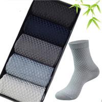 calcetines antibacterianos al por mayor-Hombres de alta calidad de fibra de bambú calcetines a estrenar Calcetines de negocios informal Desodorante antibacterial transpirable para hombre calcetín largo 10 par / lote