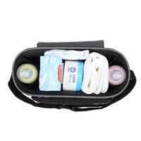 bolsa de momia multifunción al por mayor-Múltiples funciones de un hombro bolsa de momia impermeable del carro de bebé Maternal bebé paquete saliente algodón y lino que ahueca hacia fuera Convenie 32xlc1