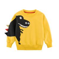 çocuklar dinozor sweatshirt toptan satış-Çocuk Giyim 2019 Bahar Yeni Çocuklar Oğlan Kız Giysileri Karikatür Dinozor Prenses Patchwork Kazak Giysileri 2-7 T