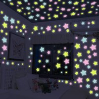 Wholesale 3d wall posters for home resale online - 50 pieces D stars glow in dark luminous on the wall stickers for kids living room diy wall decal home Decor Poster accessories