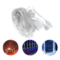 Wholesale purple led net lights resale online - Christmas lights led waterproof outdoor christmas lights string curtains net lights Eight Function Outdoor Decoration Fishing Net Light