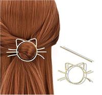 Wholesale metallic comb resale online - Hair Clip Ladies Geometric Meow Cat Pierced Hair Clip Cute Metallic Slide Comb Hairpin Shawl Pin Brooch Styling Ponytail Holder Bun Maker