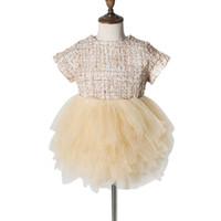 ingrosso abiti da sposa caldi-Il vestito dal tutu del partito della maglia della principessa della maglia della principessa delle neonate dei bambini di modo scherza il vestito 2019 Vendita calda
