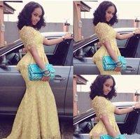 vestidos de baile de formatura amarelos de sereia venda por atacado-Africano 2019 Vintage Longo O Pescoço Manga Curta Sereia Até O Chão vestido de baile Amarelo Rendas Elegante Estilo Nigéria Pageant Vestidos de Noite