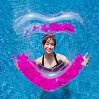 dizin havuzları toptan satış-Şişme havuz şamandıra Plaj Yüzmek Daire Şamandıra intex Gonfiabili Su Havuzu Parti Şişme Yüzme Yüzük Kalp Tüy Sequins