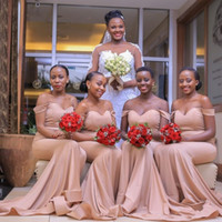 Wholesale formal prom african dresses for sale - Group buy African Off The Shoulder Satin Mermaid Long Bridesmaid Dresses Ruched Sweep Train Formal Cheap Wedding Guest Party Prom Dresses BM1545