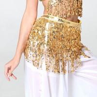 göbek dansı paraları toptan satış-2019 Sıcak Moda Paraları Pullu Bling Oryantal Dans Etek Dans Kostüm Püskül Fringe Wrap Kalça Eşarp Kemer Bel Wrap Etekler