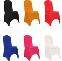 fildişi spandex toptan satış-100 adet Satılan Lycra Spandex Sandalye Kapak Düğün Olay Dekorasyon Için SiyahBeyazIvory Renk Seçin Için Ücretsiz Kargo SN1666
