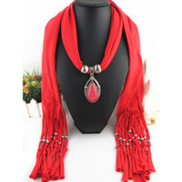 шаблоны для ожерелий оптовых-New Geometric  Necklaces Printing Flowers Pattern Wrap Chiffon Statement Scarf Necklace For Women Bohemian Jewelry
