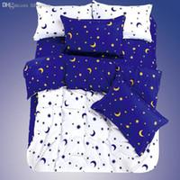 azul púrpura flores ropa de cama al por mayor-Venta al por mayor-alta calidad 2015 Nueva marca de ropa de cama 4PCS Imprimir Moon Star Plaid Style Consolador Ropa de cama Juego de sábanas / Funda nórdica / Sábanas
