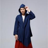 blusa branca bege homens venda por atacado-Legal Trench Coat Vintage SY0021 homens encapuzados casaco Autumn Blusão Mens Overcoats Azul Vermelho Branco Bege Plus Size bolso