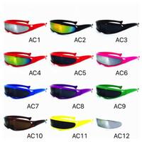 неоновые очки оптовых-Щит солнцезащитные очки красочные зеркальные линзы семейные солнцезащитные очки Cool X MEN очки футуристические циклопы неоновые очки для взрослых и детей размер
