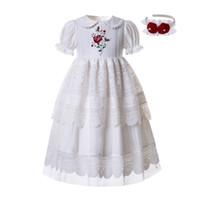 elbise çocuk giyim nakış toptan satış-Pettigirl Nakış Bebek Yaka Beyaz Çiçek Kız Elbise Communion Dantel Elbiseler Yaz Katı Büyük Çocuk Kız Giyim G-DMGD111-B455