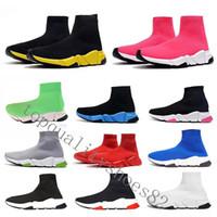 gelbe plattform sneakers großhandel-2020 Designer-Socken-Schuhe Triple Black Weiß Mens Fashion Sneakers Glitter Gelb, Blau, Rosa Frauen Speed Trainer Runner Plateauschuh-Trainer