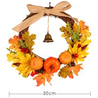 Wholesale halloween door decor resale online - Autumn Leaf Pumpkin Wreath with Bell Thanksgiving Halloween Front Door Home Decor LAD sale