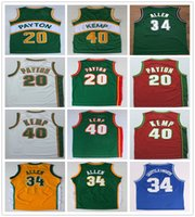 uniforme al por mayor-Hombres cosidos Gary 20 Payton Jersey Verde Blanco Rojo Shawn 40 Kemp Camiseta College Basketball Ray 34 Allen Jerseys Camisas deportivas Uniforme