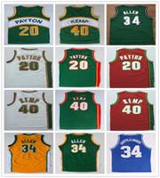uniformes do basquetebol do jérsei venda por atacado-Homens costurados Gary 20 Payton Jersey Verde Branco Shawn 40 Kemp Camisa de Basquete Universitário Ray 34 Allen Jerseys Camisas Esportivas Uniforme