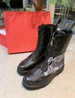 Wholesale combat boots womens resale online - Luxury Name Womens Combat Army Winter Autumn Knight Half Motorcycle Cow Leather D Printing Boots Original Box Size