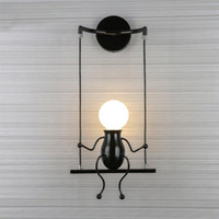 Wholesale army bedding resale online - Creative Iron Doll Led Wall Lamp Retro Bedroom Cartoon Doll Bedside Sconce Lamp For Kids Living Room Villain Swing Wall Light
