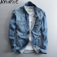 Wholesale summer clothes for shirt jeans resale online - AYUNSUE Denim Shirt Men Fashion Spring Summer Cotton Shirts for Men Jeans Long Sleeve Shirt Korean Clothes Chemise Homme