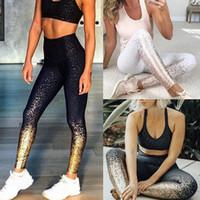 fitness ropa deportiva mujer al por mayor-Las mujeres dorado yoga fitness polainas metálico deportes ocasionales medias de la alta cintura Ejecución de gimnasia deportiva delgados pantalones capris LJJA2313