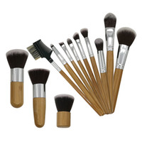 olhos de bambu venda por atacado-Bamboo Handle Makeup Brushes Set 12pcs Concealer Foundation Eyeshaow Eye Liner Maquiagem Brushers Kit Escova Ferramenta GGA2263
