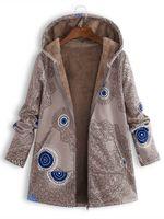 womens langer kapuzen-pullovermantel großhandel-Frauen designer mantel mode gedruckt kapuzenpullover hochwertige frauen plüsch langärmelige jacke 19ss plus größe s-5xl