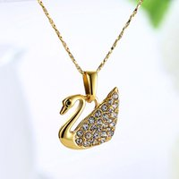 Wholesale white gold swan pendant for sale - Group buy Women Crystal Swan Pendant Necklace Gold Silver Rose Gold Plated Swan Necklace Fashion Czech Diamond Jewelry The Best Gift for Women Girls