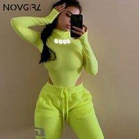 macacões verdes para mulheres venda por atacado-Novgirl reflexivo letras corpo encabeça mulheres manga comprida bodysuit meninas curto macacão gola alta macacão de néon verde sexy macacão