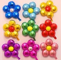 balon ballon toptan satış-2019 22 inç Beş-petal Çiçek Yuvarlak Alüminyum filmi Balon Kalp Şeklinde Petal Ballon Düğün Dekoratif Malzemeleri folyo Balonlar