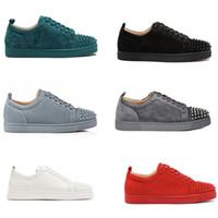 лучшие мужские кожаные ботинки оптовых-Лучшие дизайнерские туфли Red Bottom младшие шипованные шипы кроссовки мужские кроссовки из натуральной кожи Party обувь США 5-12,5