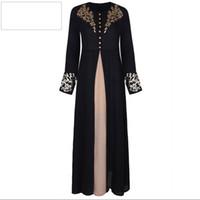 vestidos maxi modestos venda por atacado-Dubai Vestidos Evening Abaya Maxi Vestido Mulheres Muçulmanas Robe Islâmico Kaftan Marroquino Modest Vestido