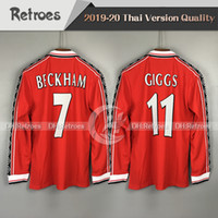 Wholesale long sleeve football jerseys for sale - Group buy 98 Retro Version Long sleeve Jerseys Soccer jersey Beckham Giggs SCHOLES RONALDO Manchester Retro football shirt